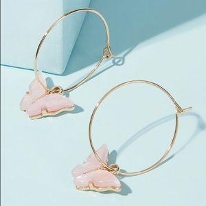 BNIB butterfly hoop earrings